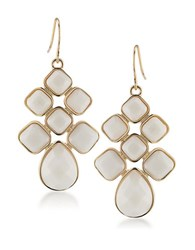 1St And Gorgeous Cabachon Chandelier Earrings In White Gold