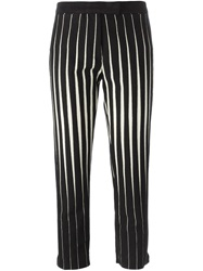 Ann Demeulemeester Striped Cropped Trousers Black