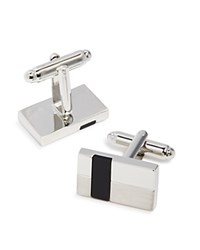 Bloomingdale's The Men's Store At Rectangular Cufflinks Silver Black