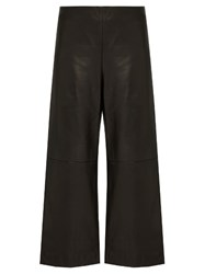 Adam By Adam Lippes Cropped Wide Leg Leather Trousers Black