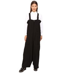 Yohji Yamamoto Cotton Twisted Twill Overalls Black Women's Overalls One Piece