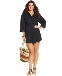 Dotti Plus Size Button Front Shirtdress Cover Up Women's Swimsuit Black