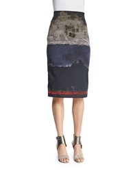 Donna Karan High Waist Colorblock Pencil Skirt Multi Colors