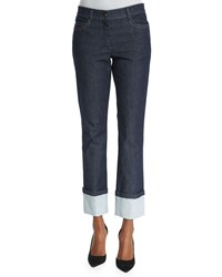 Escada New Thermal Mid Rise Straight Leg Cuffed Jeans Navy