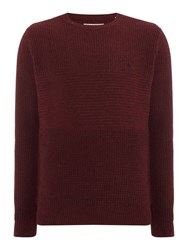 Original Penguin Men's Wool Blend Chunky Mix Stitch Knitted Jumper Port