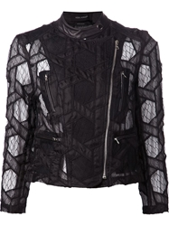 Yigal Azrouel Geometric Lace Biker Jacket Black