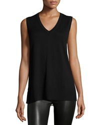 Derek Lam Sleeveless V Neck Knit Front And Leopard Print Back Shell