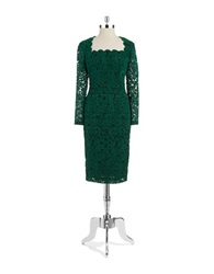 Maggy London Long Sleeved Lace Paisley Dress Green