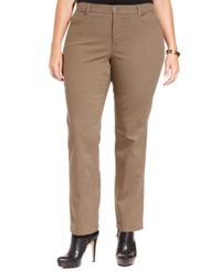 Style And Co. Plus Size Tummy Control Straight Leg Pants Warm Taupe