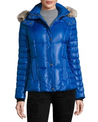 Marc By Andrew Marc New York Aubrey Fur Trim Puffer Coat W Removable Hood Cobalt