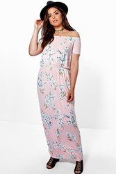 Boohoo Mina Floral Bandeau Maxi Dress Blush