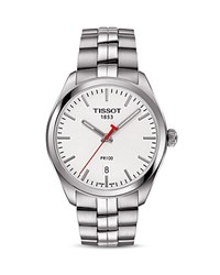 Tissot Nba Pr 100 Stainless Steel Watch 39Mm White Silver