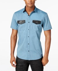 Inc International Concepts Men's Osric Multi Pocket Short Sleeve Shirt Only At Macy's Blue Jewel