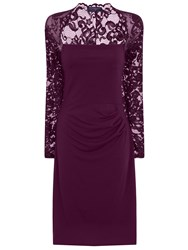 Hotsquash Lace Sleeved Dress In Clever Fabric Damson