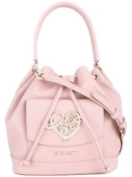 Love Moschino 'Heart' Plaque Sack Tote Pink And Purple