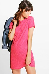 Boohoo Cap Sleeve T Shirt Dress Pink