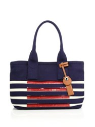 Marc By Marc Jacobs St. Tropez Sequin Striped Canvas Beach Tote Navy Multi