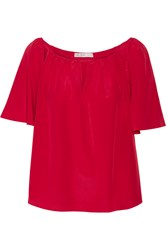 Chelsea Flower Cutout Silk Top Red