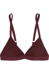 Araks Jude Ribbed Cotton Jersey Soft Cup Triangle Bra Burgundy