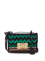 Salvatore Ferragamo Aileen Small Leather And Suede Cross Body Bag Black Green