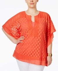 Alfani Plus Size Dotted Lace Overlay Top Only At Macy's Coral Blast