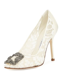 Manolo Blahnik Hangisi Floral Lace Crystal Toe Pump