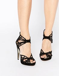 Forever Unique Lagoon Caged Suede Heeled Sandals Black