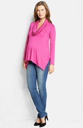 Women's Maternal America Cowl Neck Maternity Nursing Top Hot Pink
