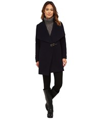 Lauren Ralph Lauren Cashmere Blend Drape Front Regal Navy Women's Coat Black
