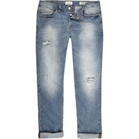 Only And Sons River Island Mens Mid Wash Ripped Jeans