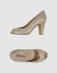 Janet And Janet Pumps With Open Toe Khaki