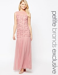 John Zack Petite Maxi Dress With 3D Floral Bodice And Tulle Skirt Rose Pink