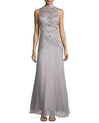 Sue Wong High Neck Embroidered Pleated Gown