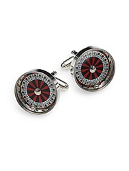 Saks Fifth Avenue Roulette Cuff Links Red Silver