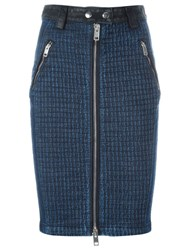 Diesel Front Zip Denim Skirt Blue