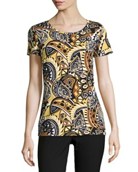 Lafayette 148 New York Tribal Print Scoop Neck Tee Black Multi