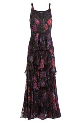 Etro Silk Floral Print Tiered Dress Multicolor