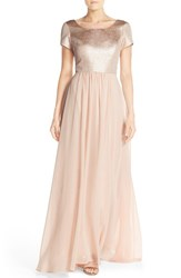 Women's Paper Crown By Lauren Conrad 'Marcella' Shimmer Bodice Gown Rose Gold Blush Chiffon