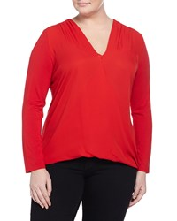 Vince Camuto Plus Long Sleeve Knit Faux Wrap Top Pop Red