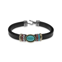Platadepalo American Indian Inspired Bracelet With Silver Bronze And Resins Black Blue
