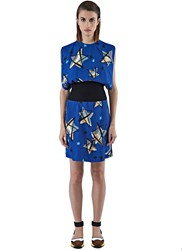 Marni Star Print Chiffon Dress Blue