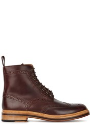 Grenson Fred Burgundy Leather Boots Brown