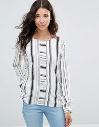 B.Young Genny Linear Print Blouse Chestnut White
