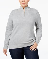 Karen Scott Plus Size Ribbed Mock Neck Sweater Only At Macy's Smoke Grey Heather