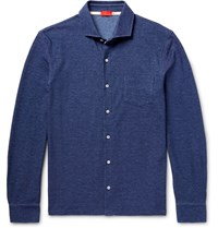 Isaia Elange Cotton Pique Shirt Blue