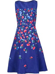 Oscar De La Renta Floral Embroidery Flared Dress Blue