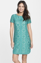 Adrianna Papell Medallion Pattern Lace Shift Dress Jade