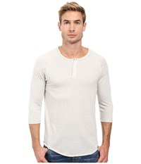 Alternative Apparel 3 4 Raglan Henley Eco Overcast Men's Long Sleeve Pullover White