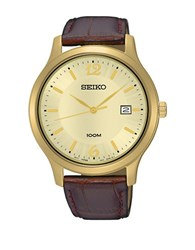 Seiko Goldtone Sur186 Leather Band Watch Brown