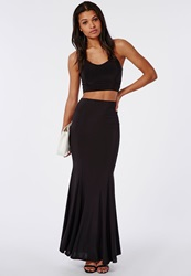Missguided Slinky Fishtail Hem Maxi Skirt Black Black